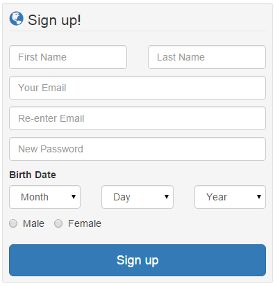Bootstrap Sign Up page